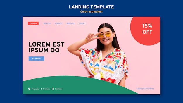 Landingpage-vorlage mit frau, die sonnenbrille trägt
