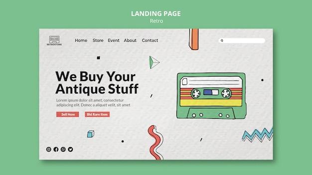 Landingpage-vorlage mit retro-artikeln