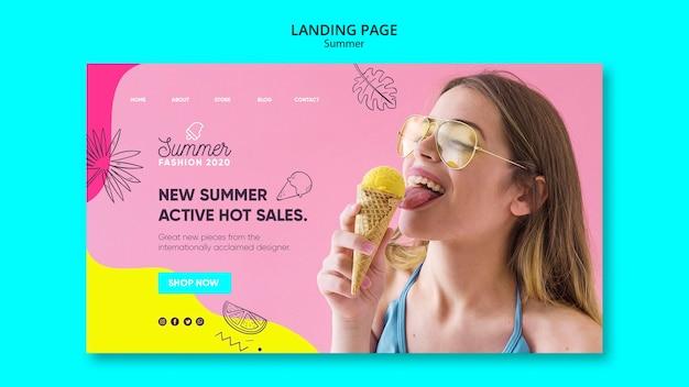 Landingpage-vorlage mit sommerverkaufsdesign
