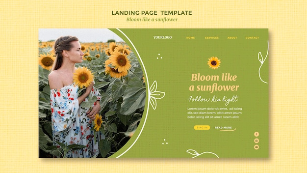 Landingpage-vorlage mit sonnenblumen und frau