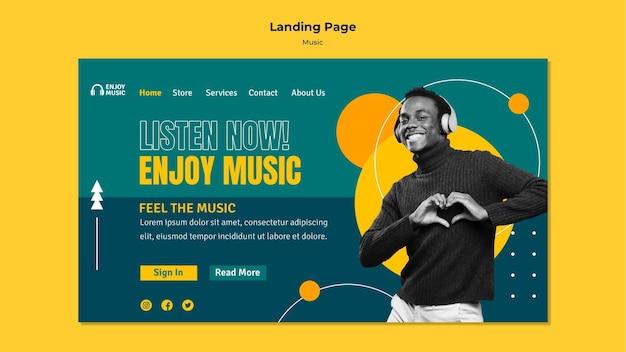 Landingpage-vorlage zum genießen von musik Premium PSD