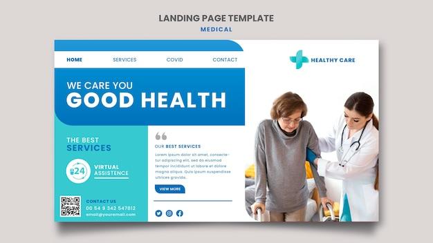 Landingpage-vorlagenentwurf für medizinische versorgung