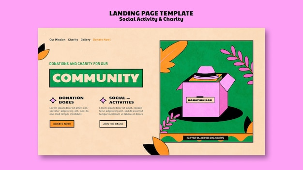 Landingpage-vorlagenentwurf für wohltätigkeitsspenden