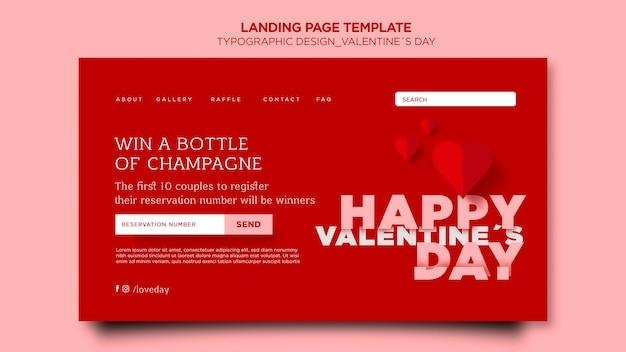 Landingpage zum valentinstag mit herzen