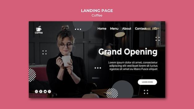 Landingpage zur eröffnung des coffeeshops