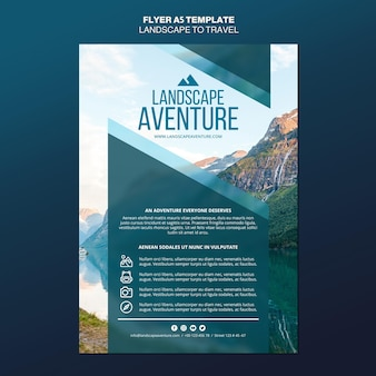 Landschaft für reisekonzept flyer vorlage