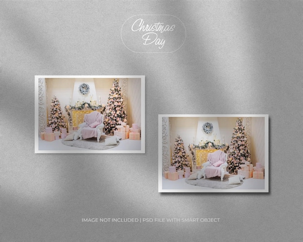Landschaftsrahmenfotomodell für weihnachten und neujahr frohe weihnachten