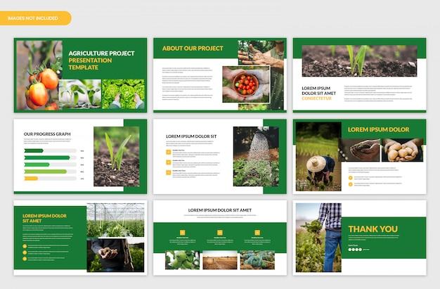 Landwirtschaftsprojektpräsentation und landwirtschaftsschiebereglerschablone