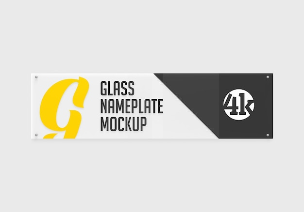 Langes rechteckiges glasschildschildmodell isoliert