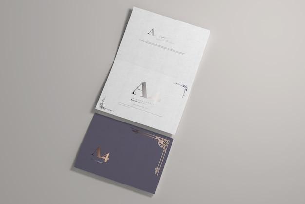 Langkantenfalte a4 bi-fold horizontal mockup