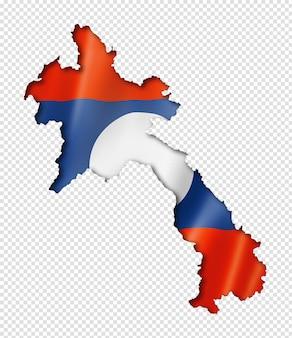 Laos flaggenkarte, dreidimensionaler render, isoliert auf weiß