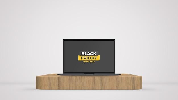 Laptop auf der bühne mockup