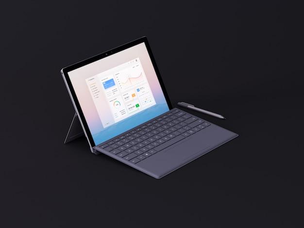 Laptop auf dunklem backgroud