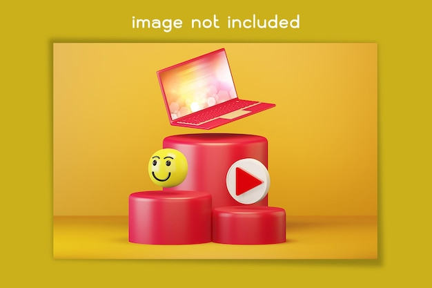 Laptop auf rotem podium mit symbolen für soziale medien