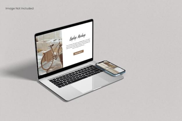 Laptop-bildschirm mit smartphone-modell