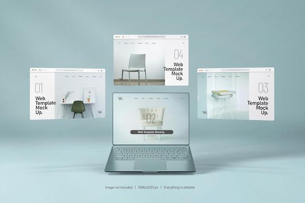 Laptop-bildschirm mit website-präsentationsmodell isoliert