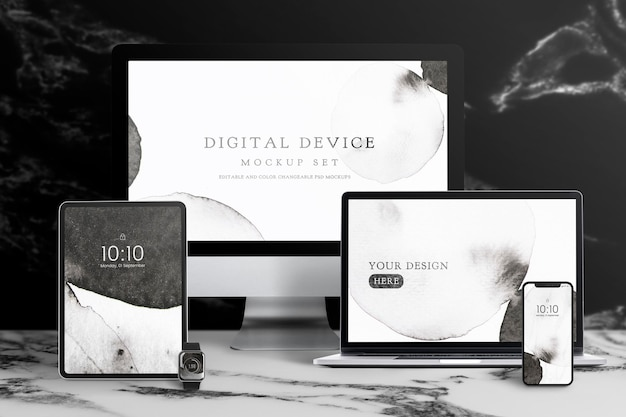 Laptop-bildschirm mockup psd digitales gerät