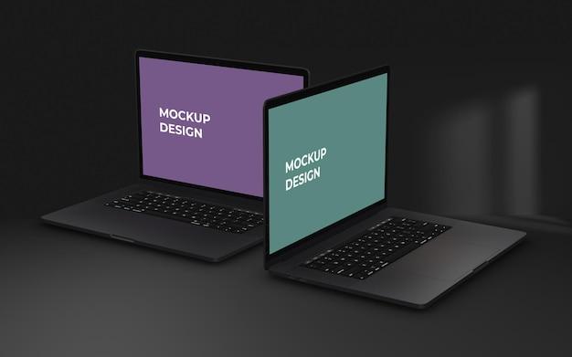 Laptop-bildschirm psd-modell auf dunklem hintergrund