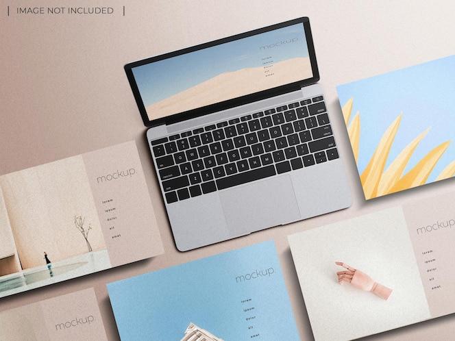 Laptop bildschirm website präsentation modell draufsicht isoliert