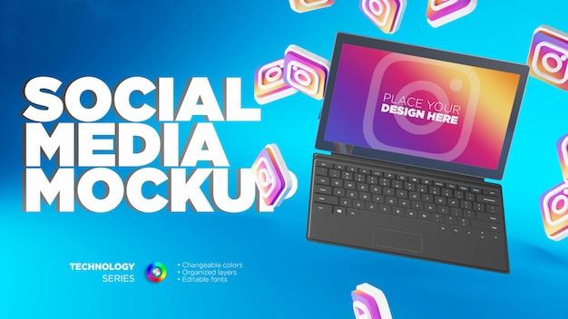Laptop-display-hintergrund mit instagram 3d-symbolen