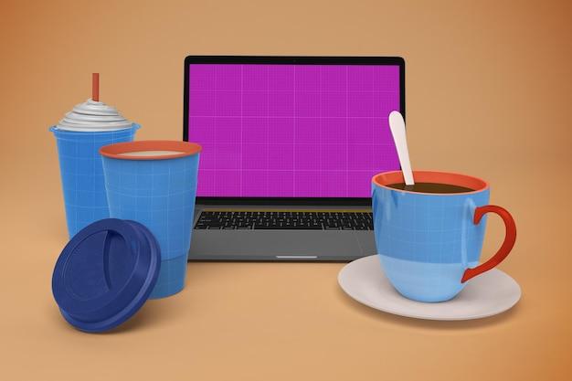 Laptop im café Premium PSD