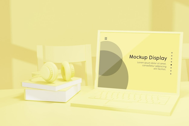 Laptop mit bildschirmplatzierungsmodell in der 3d-renderingillustration