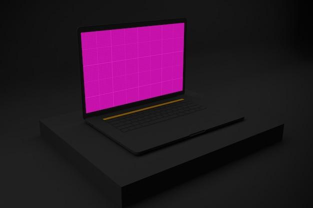 Laptop mit modellbildschirm auf schwarzem sockel zur präsentation