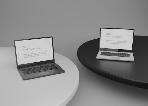 Laptop mit schwarzem und weißem hintergrund