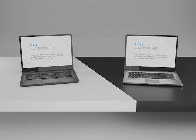 Laptop-modell in schwarz-weiß-hintergrund