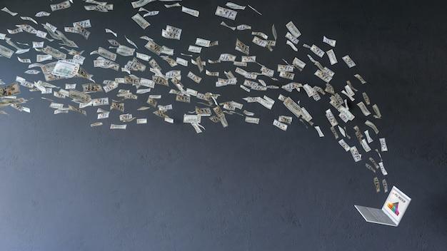 Laptop-modell mit den dollarscheinen, die in richtung zu ihm fliegen