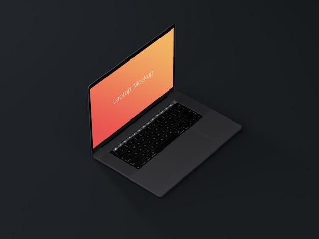 Laptop-modell mit dunklem hintergrund