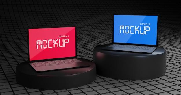 Laptop-modell mit zwei bildschirmen auf schwarzem podium