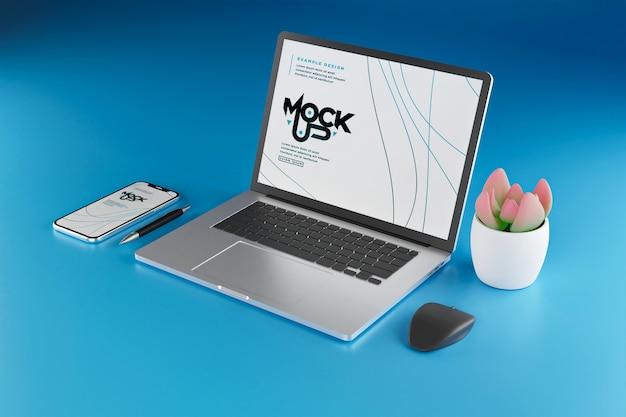 Laptop und smartphone bildschirm mockup design
