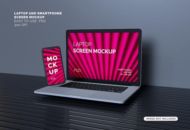 Laptop- und smartphone-bildschirm modell