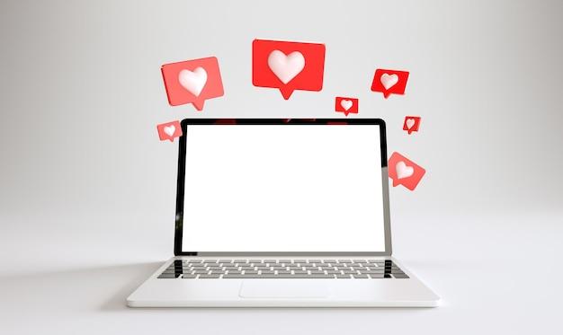 Laptopmodell mit vielen ähnlichen benachrichtigungen auf weißem hintergrund. social-media-konzept. 3d-rendering