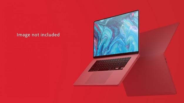 Laptops in der luft mit schattenmodell
