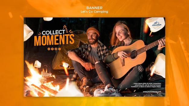 Lass uns camping banner mit foto gehen
