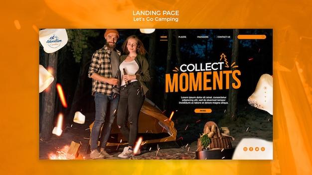 Lassen sie uns camping landing page gehen