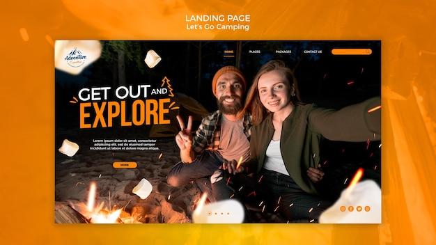 Lassen sie uns camping landing page vorlage gehen