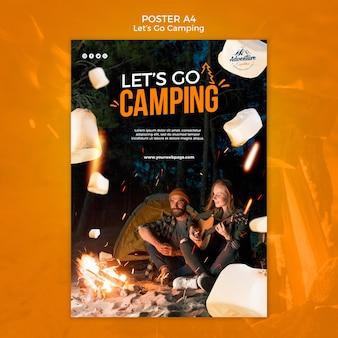 Lassen sie uns camping poster vorlage gehen