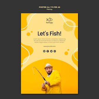 Lassen sie uns mann im gelben mantelplakat fischen