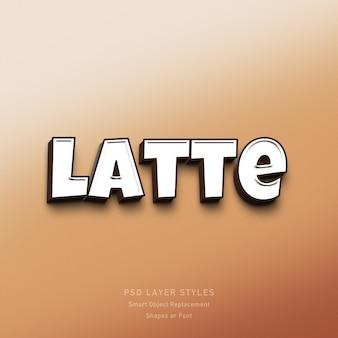 Latte 3d-textstil-effekt psd