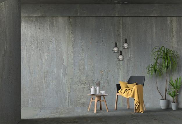 Lebender betonmauerinnenraum mit stuhl