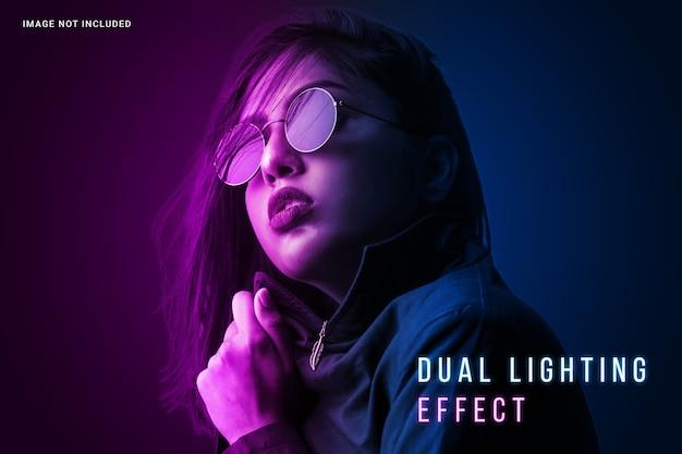 Lebendige foto-effektvorlage mit doppelter beleuchtung
