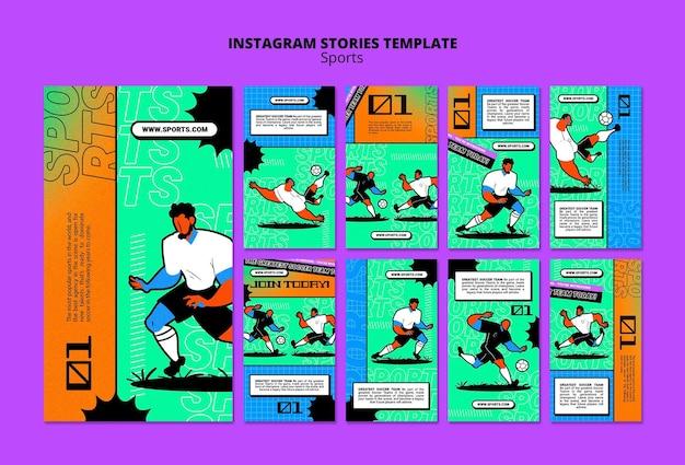 Lebendige illustration fußball vorlage instagram geschichte