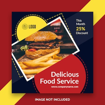 Lebensmittel restaurant instagram post, quadratische banner oder flyer vorlage