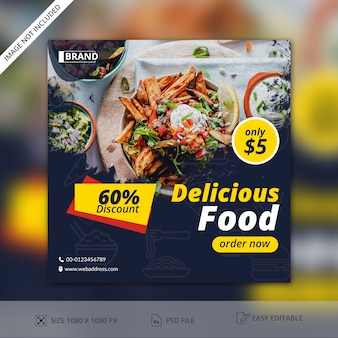 Lebensmittel restaurants social media post banner vorlage