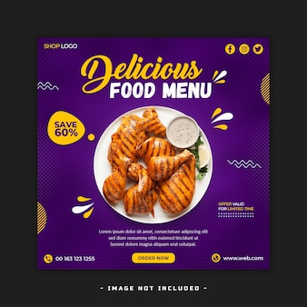 Lebensmittel-social-media-banner-post-vorlage kostenlose psd