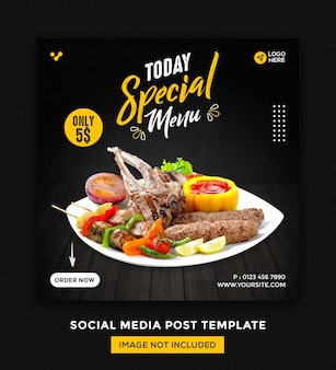 Lebensmittel social media und instagram post desgin vorlage