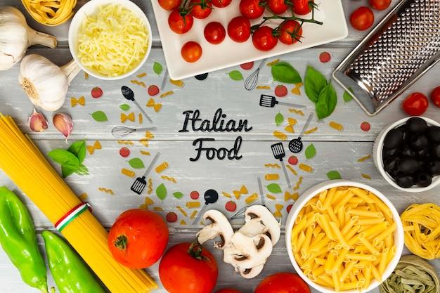 Lebensmittelhintergrund mit italienischen bestandteilen
